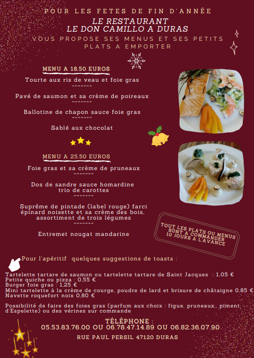 Menu fêtes Don Camillo